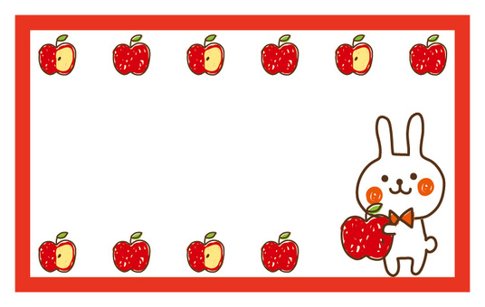 Rabbit and apples message card