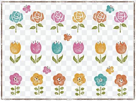 Retro staple of flowers