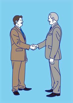 外国人ビジネスマン 商談成立 握手