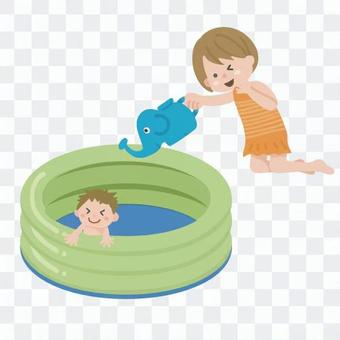 Children playing in a plastic pool