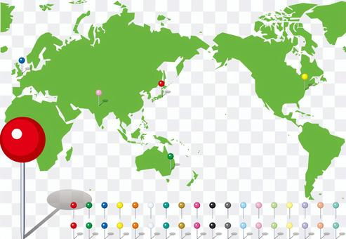 世界地圖地圖別針