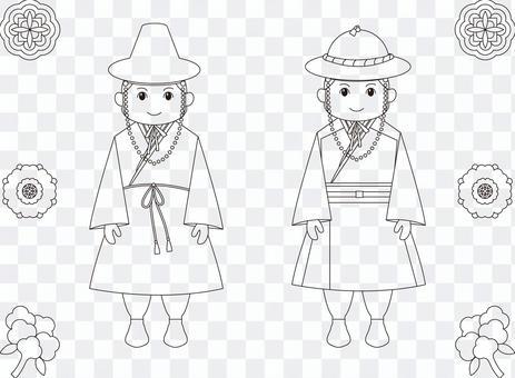 一名身穿傳統韓國服裝的男子的線描