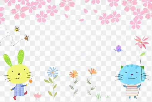 櫻花可愛的動物