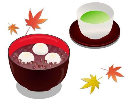秋葉、白玉禪齋和茶的插圖