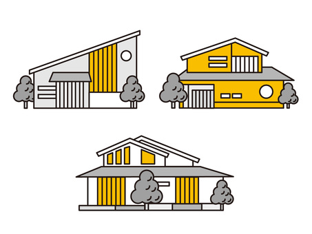 Simple Japanese modern housing set