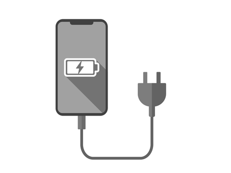 Smartphone icon with a charging cord connected