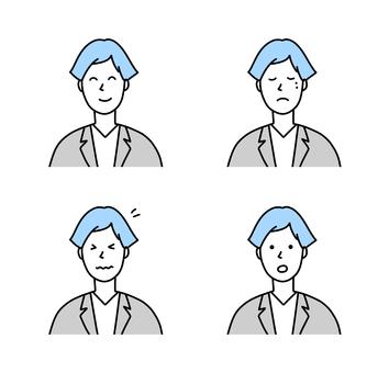 女性商務人士的各種面部表情插圖