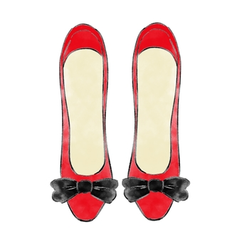 Red shoes black ribbon