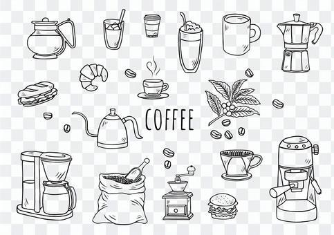 手繪插圖:咖啡具