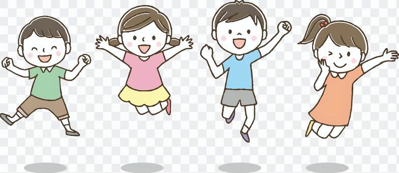 可愛的孩子們跳/手繪