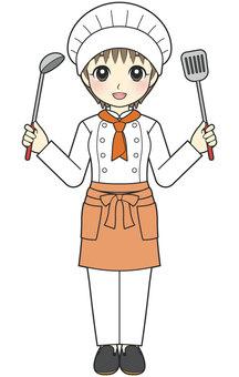 廚師女人做飯