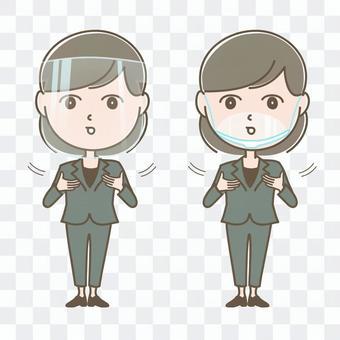 一名採取手語措施以防止散落的婦女
