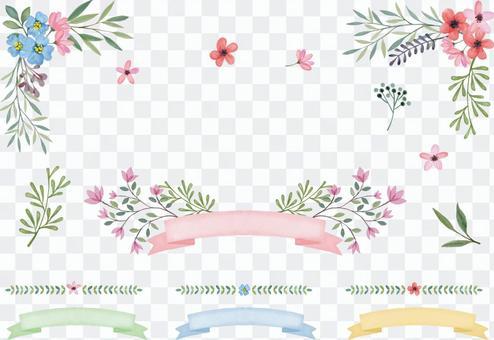 水彩花和絲帶框架