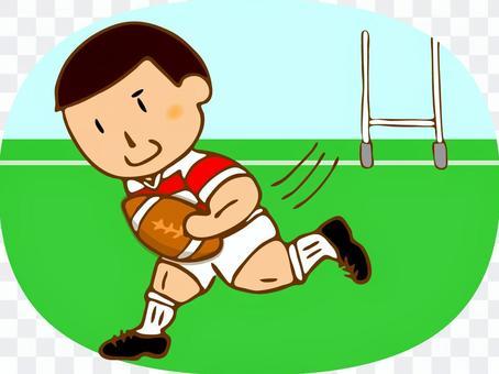 ラグビー選手(走る)