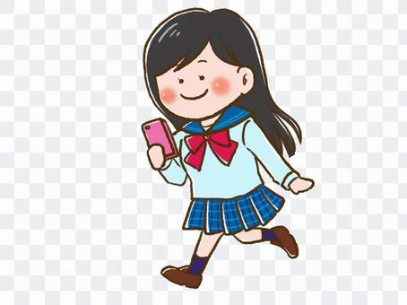 有智能手機的學校女孩
