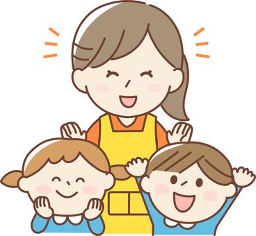 托兒所教師和幼兒園兒童