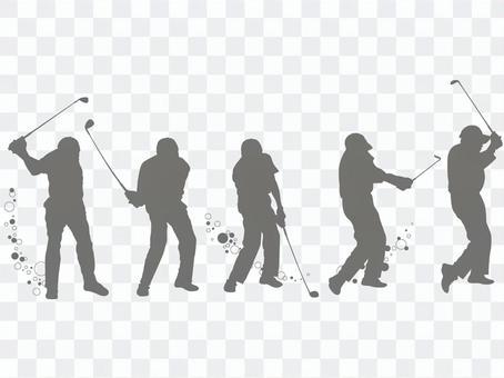 高爾夫玩家鞦韆剪影