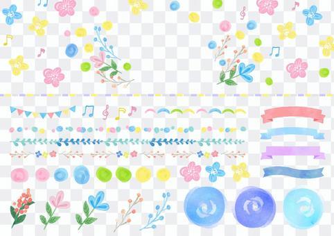 水彩材料046花和裝飾集