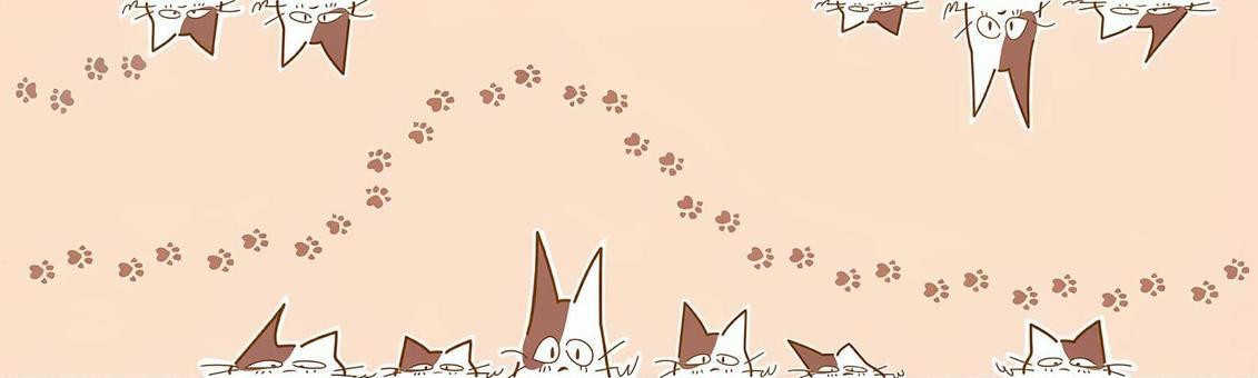 斑紋貓和足跡橫幅