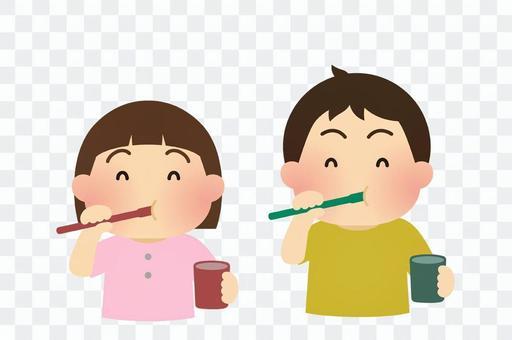 Illustration of teeth brushing children