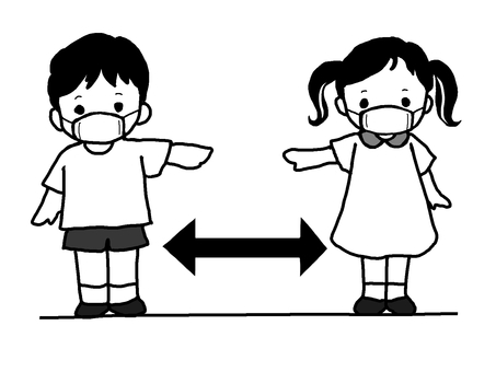Black and white illustration of social distance