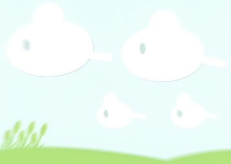 大草原和天空和雲彩