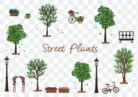 Tree Roadside Tree Town Illustration Fashionable