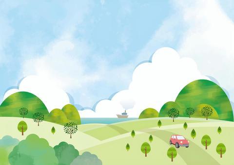 Refreshing season landscape background material