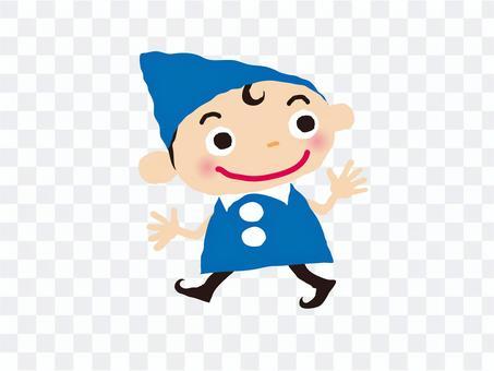 小人(ブルー)歩く