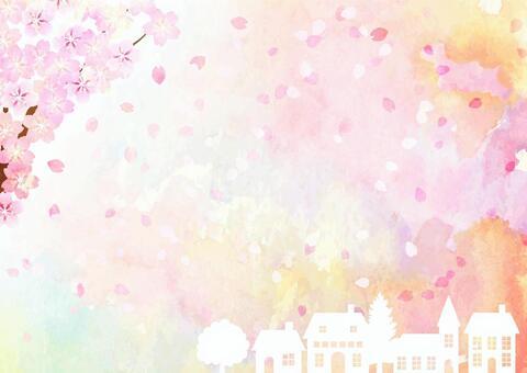 水彩風格的花朵和城市景觀水平