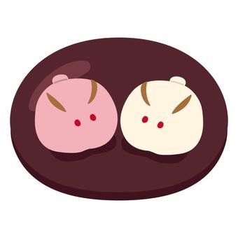 日式點心(紅白饅頭/2個)