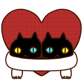 Cat heart muffler black cat