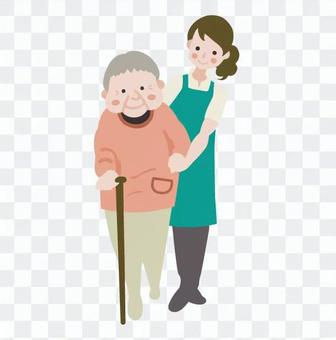 The staff who cares for the elderly