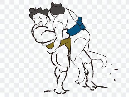 相撲釣り出し