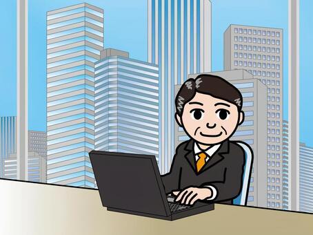 オフィス街(53)高層ビル 男性