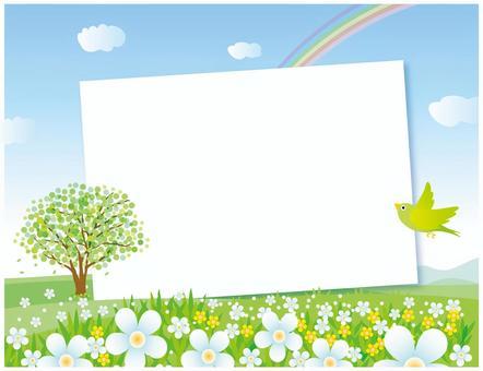 Flower blooming hill landscape frame