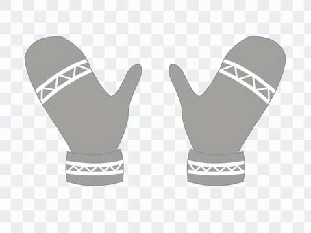 連指手套/灰色