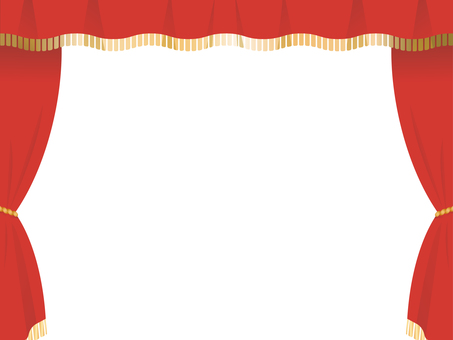 Red stage curtain frame