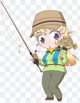 カワハギ釣りガール