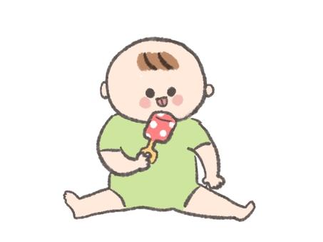 寶寶舔玩具