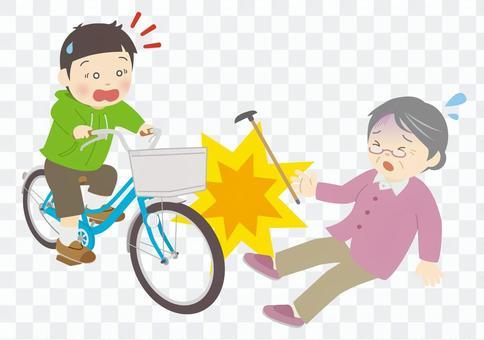 老年人與兒童自行車相撞