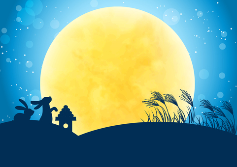 水平山和兔子月亮觀看背景