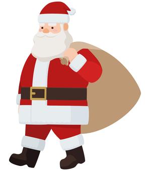 帶著聖誕老人的禮物袋走路