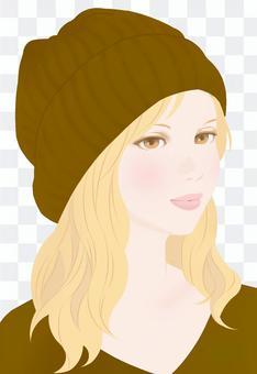 秋天的顏色編織帽棕色