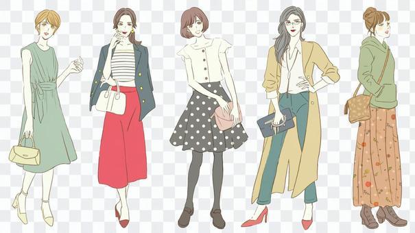 女性時尚全身色ver。