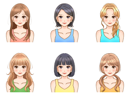 Adult female hairstyle illustration material set 2