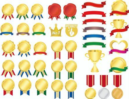 一整套的獎牌,彩帶和獎杯
