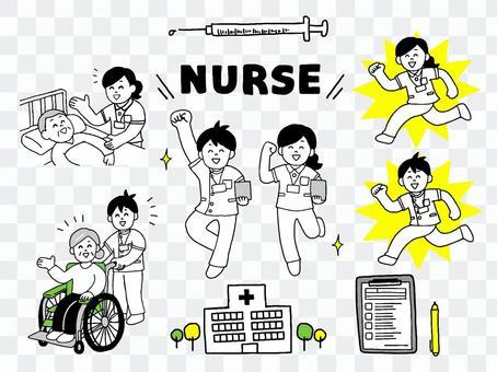 護士男女插畫套裝(簡單)
