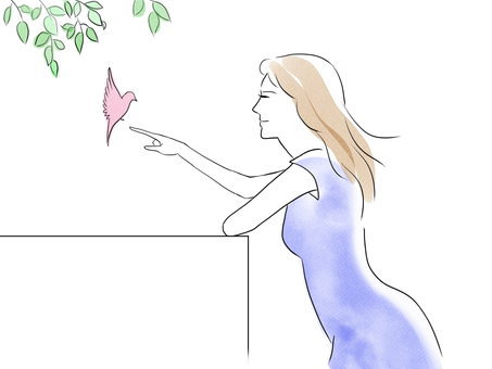 女人和小鳥