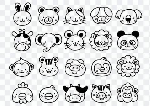 為兒童設置的20種動物插圖線條藝術